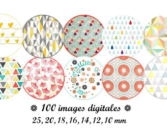 Digital collage sheet Scandinavian Download printables 1 inch circles and more, Folk nordic bottle caps floral images for modern jewelry.
