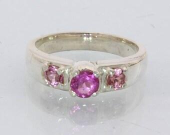 Rubellite Pink Tourmaline Handmade 925 Silver Three Stone Ladies Ring size 6