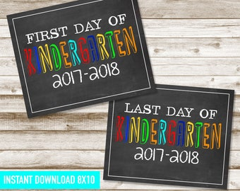 Kindergarten Back to school sign, First and Last day of school sign, Chalkboard Printables, First Day, Printables, 8x10, DIGITAL FILE ONLY