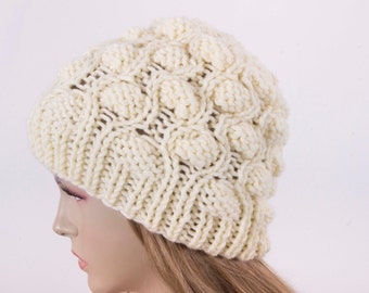 Winter hat slouchy beanie  oversized beanie hat winter knit hat for woman in ivory  -COLOR OPTION  AVAILABLE