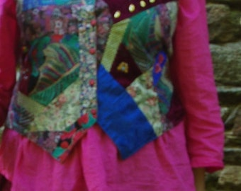 Clothing: vest in crazy patchwork