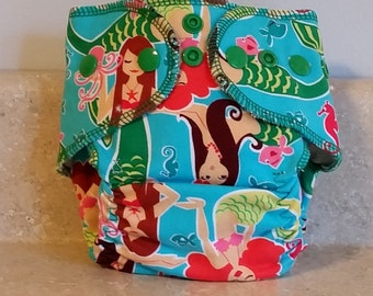 Fitted Preemie Newborn Cloth Diaper- 4 to 9 pounds- Mermaids- 16047