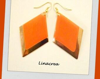 Orange diamonds and gold enamelled earrings