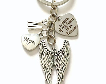 Angel Wing KeyChain, Memorial Key Chain, A piece of my heart is in Heaven Sympathy Gift Loss of Mom Dad Son Daughter Husband Wife Aunt Uncle