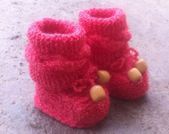 Elena Pastel Red Baby Booties - Ready to ship