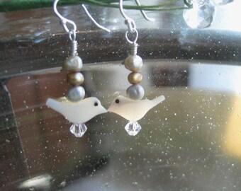 Mother of Pearl, Bird Earrings, Carved Birds, Freshwater Pearls, Sterling Silver Ear wires, Swarovski Crystal Element, Minimalist earrings