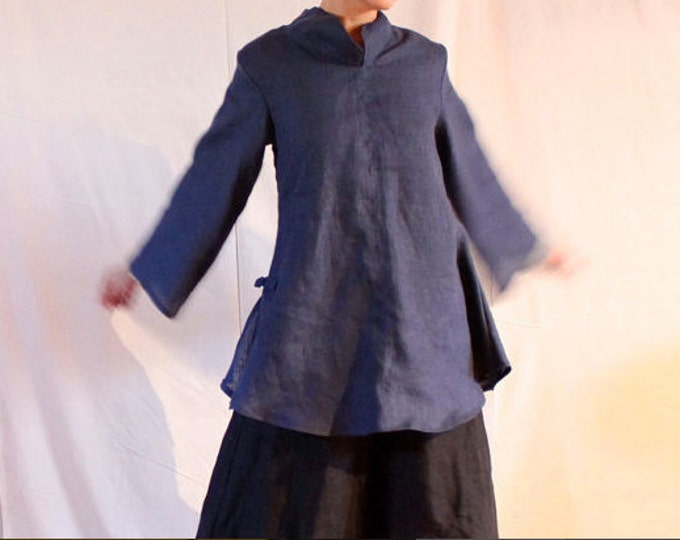 eco linen asian blouse size XS to 5XL and up / plus size / petite / linen blouse for all sizes / frog toggle / stand up collar / linen top