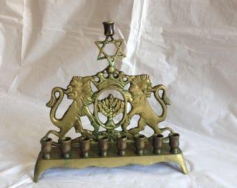 Antique Brass Menorah ~ Star of David Lions