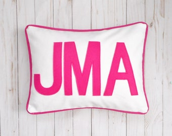 Custom Monogram Pillow Cover, 3 initials, Pink Block Letters, Pillow Sham, 2 sizes fit a 12 x 16 insert or standard bed pillow (20 x 26)