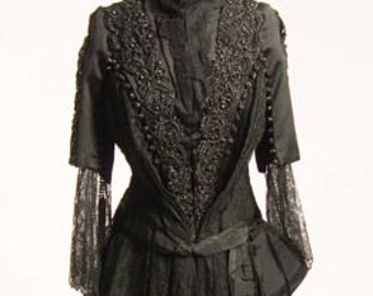 Original 1880/1890s  Victorian 2Pc Black Beaded Satin Ball-Gown Dress/Gown size 8 - Item #159, Dresses and Gowns