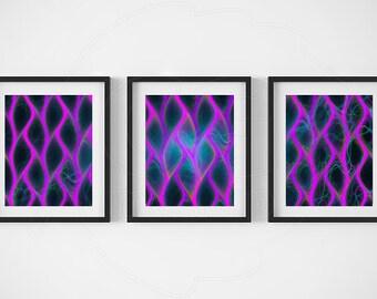 Abstract art print set, home decor, purple black colorful art, 3 panel art, fractal art, large wall art, contemporary art, omputer geek gift