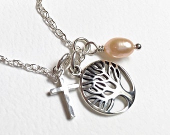 Tree Of Life Cross Necklace, Sterling Tree Necklace, Family Necklace, Dainty Sterling Tree
