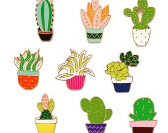 Cute Cactus Enamel Pins,Plant Pins