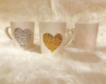 Custom glitter coffee mug