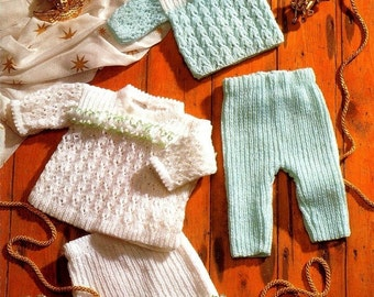 Baby KNITTING PATTERN  - Sweater, Angel Top, Trousers and Pants/Shorts - Premmie sizes included