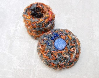 Silk Trinket Basket - Mini Silk Tapestry Basket w/ Vintage Button Embellished Lid - Valentine's Day, Mother's Day, Wedding Anniversary Gift
