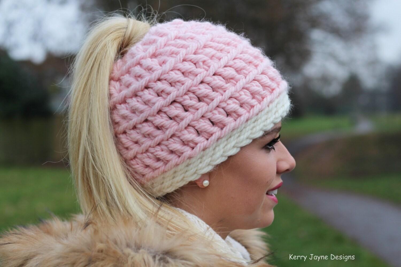 Messy Bun hat pattern \'Love it\' Messy Bun Hat Toboggan hat crochet ...