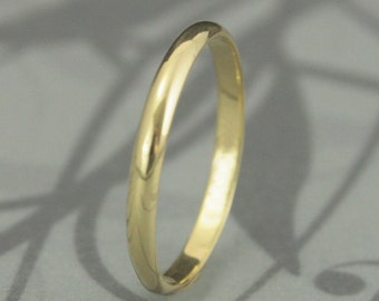 18K Gold 2mm Skinny Minnie Plain Jane Half Round Band--18K Wedding Band--YOUR CHOICE of 18K Yellow, White or Rose Gold