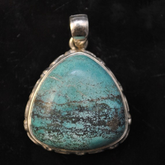 Sterling Silver Tibetan Turquoise Pendant Native American Style #9874