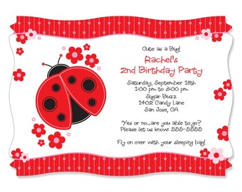 Ladybug Party Invitations - Custom Party Decorations for Birthday Party - Set of 12