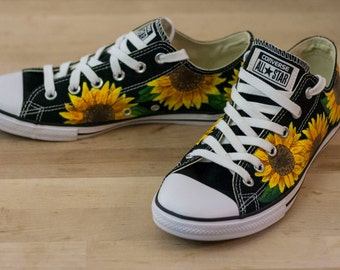 Sunflower Floral Custom Converse All-Star Shoes- Hand Painted