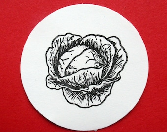 Lettuce Cabbage Vegetable Rubber Stamp  - Handmade by BlossomStamps