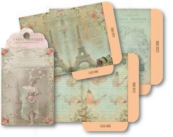 French Nostalgia Envelopes Digital Collage Sheet Download -527- Digital Paper - Instant Download Printables