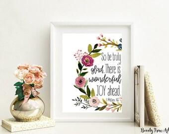 1 Peter 1:6 print, joy print, bible print, christian art, christian printable, bible verse, printable art, wall art, INSTANT DOWNLOAD
