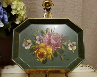Pretty Vintage Tole Tray, c1950;Hand Painted Tole Tray, Small