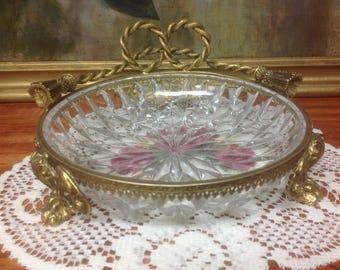 French Ormolu / Cut Crystal / Trinket Dish / Candy Dish / Dresser Dish / Gilded Bronze / Paw Footed / Jardinier