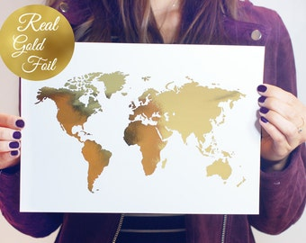 Gold foil map etsy world map poster real gold foil map print gold foil world atlas gumiabroncs Gallery