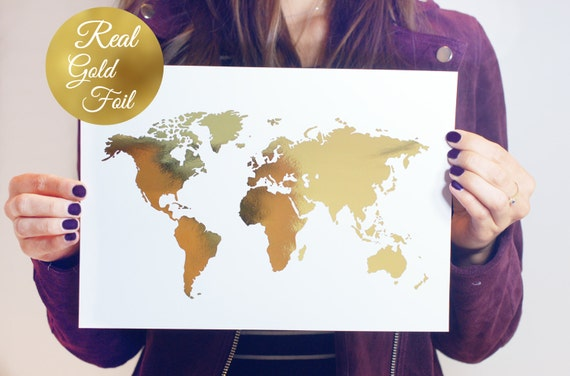 World map poster real gold foil map print gold foil world world map poster real gold foil map print gold foil world atlas geography art print gold map poster gold art gold wall decor gumiabroncs Images