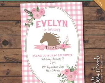 Pony Party Birthday Printable Invitation -- Personalized