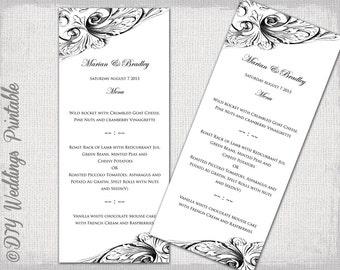 """Menu template -Black & white DIY wedding menu -""""Vintage Scroll"""" digital printable menu -YOU EDIT template - instant download"""