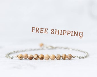 Landscape jasper bracelet, Jasper jewelry, Natural stone beaded bracelet, Jasper stone bracelet, Jasper gemstone jewelry, Sterling silver