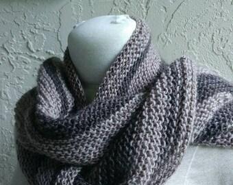 Handknit OOK Moorland wool shawl in browns