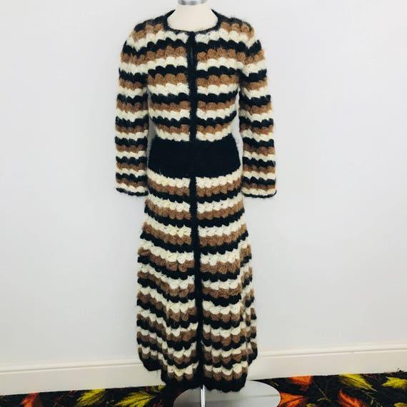 Vintage maxi dress hand crochet knitted dress brown black long hand knitting cardigan skirt hadmade UK 8 10 mohair wool hippie boho coat