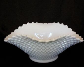 Vintage Milk Glass English Hobnail Serving Bowl by Westmoreland - Wedding Decor Centerpiece
