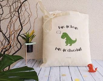 Tote bag organic humor, no arm chocolate, natural canvas, dinosaur illustration tote bag