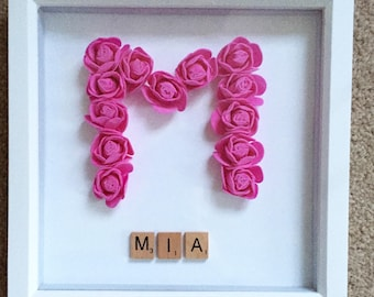 Scrabble Name and Initial in roses - baby name, christening present, personalised home wall decoration