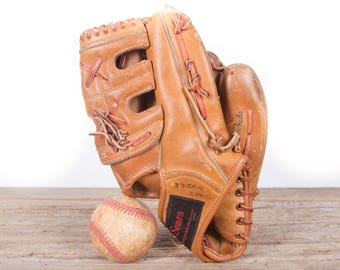 Old Vintage Leather Baseball Glove / Youth Sears Roebuck Baseball Glove / Antique Baseball Glove / Old Glove Antique Mitt / Baseball Decor