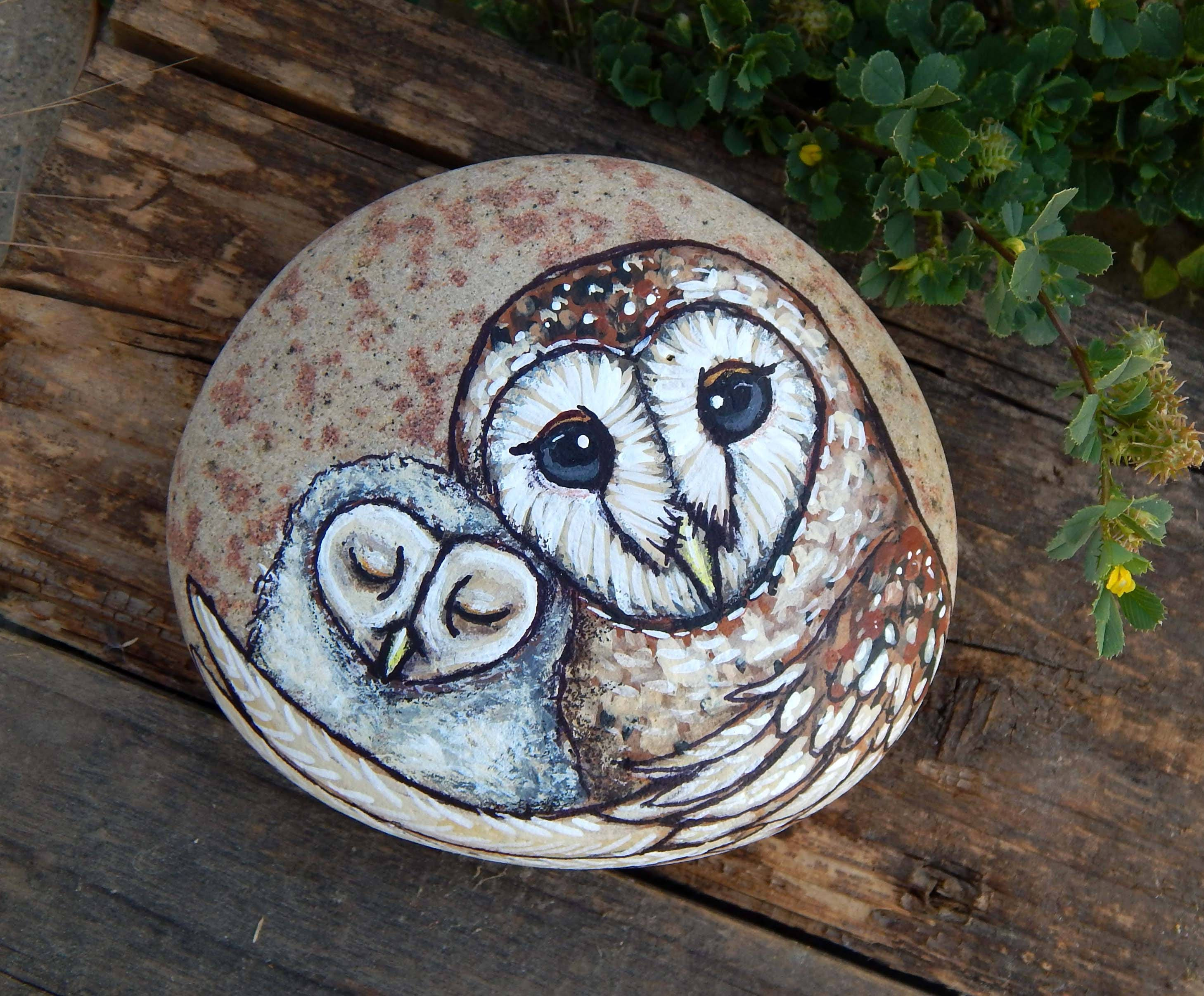 Barn owl mother and baby totem hand painted stones owls rock description barn owl buycottarizona