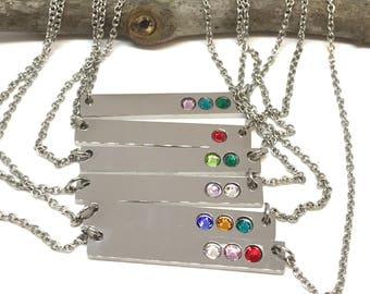 Birthstone bar necklace, gift for mom, birthstone necklace, cross bar necklace, birthstone necklace for mom, bridesmaid gift, grandma gift