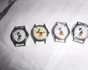 Mickey Glow int the dark & 3 Minnie Mouse watches made by Lorus Japan all are V515-6080 A1