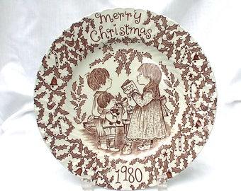 Royal Crownford 1980 Merry Christmas Brown Transferware Plate Norma Sherman