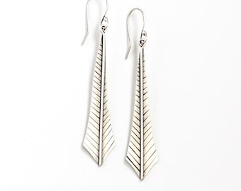 "Silver feather earrings, artisan cut, formed, hammered, molded, sanded and soldered sterling silver dangles - ""Plume Earrings"""