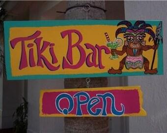 Tropical Tiki Bar Open Closed Wood Sign
