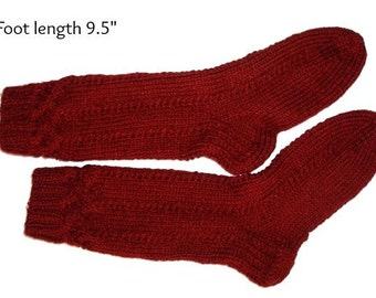 "Socks hand knit.  Foot length  9.5"". Reinforced heel. Boot socks. Slipper socks. Boot liners. Acrylic cranberry red color. Ready to ship"