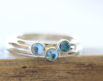 London Blue Topaz Stacking Ring in Sterling Silver, 3mm Cabochon