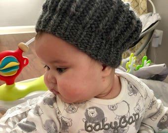 Chunky knit hand knit baby beret/tam